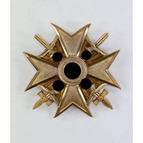 Spanienkreuz in Gold mit Schwertern, Wilhelm Deumer, an Schraubscheibe (!)