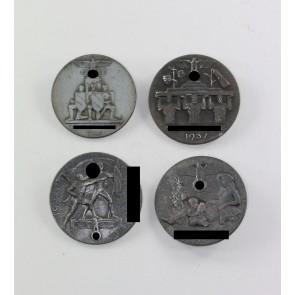 Abzeichen, 4 x Reichsparteitag Nürnberg 1936 - 1939