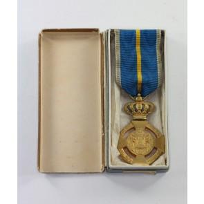 Rumänien, Militär-Verdienstkreuz 1. Klasse in Gold, im Etui