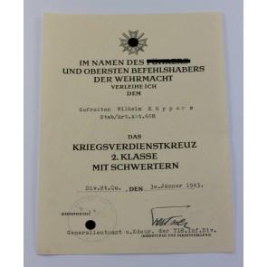 Urkunde Kriegsverdienstkreuz 2. Klasse mit Schwertern