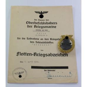 Flottenkriegsabzeichen, Hst. Schwerin, mit Urkunde Schlachtschiff Bismarck (!)