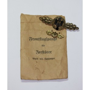 Frontflugspange für Zerstörer in Gold mit Sternhänger, Hst. Osang, in Verleihungstüte Osang