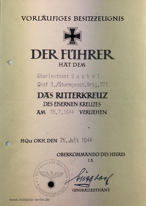 Ritterkreuz: Vorläufiges Besitzzeugnis