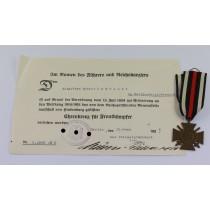 Ehrenkreuz für Frontkämpfer, mit Urkunde