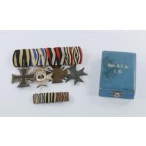 Ordenschnalle 4X + Feldspnage + Etui Bayern, Militär Verdiesntkreuz 2. Klasse