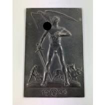 Plakette, Lauchhammer Eisen, Weihnachten 1936, Bauer mit Schwert, Adler mit Hakenkreuz