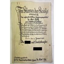 Urkunde original (!) Tinten Unterschrift Adolf Hitler