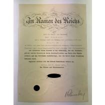 Urkunde, original (!) Unterschrift Adolf Hitler