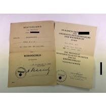 Urkunden Kubanschild + Ostmedaille