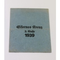 Verleihungstüte Eisernes Kreuz 2. Klasse 1939, Klein & Quenzer A-G Oberstein