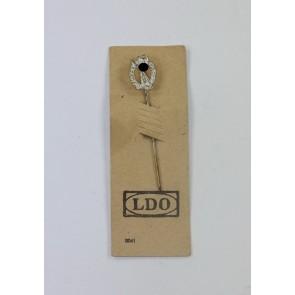 16 MM Miniatur Infanterie Sturmabzeichen in Silber, Hst. HW (!) , auf LDO Steckkarte