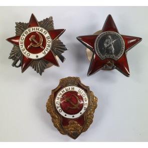 Sowjetunion, Roter Stern & Orden des Vaterländischen Krieges 2. Klasse, verliehen an eine Person, mit Archiv Material