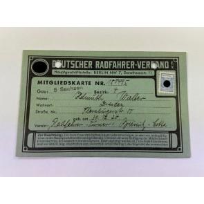3. Reich, Mitgliedskarte Deutscher Radfahrer-Verband e.V.
