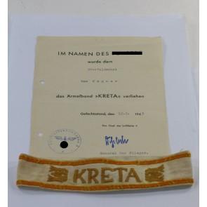 Ärmelband Kreta mit Urkunde