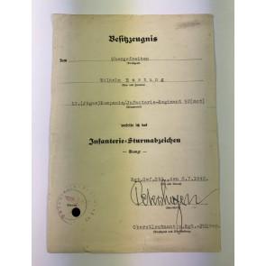 Urkunde Infanterie Sturmabzeichen in Bronze