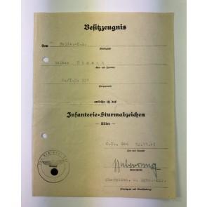 Urkunde Infanterie Sturmabzeichen in Silber