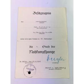 Besitzzeugnis Nahkampfspange in Bronze (1. Stufe)