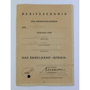 Besitzzeugnis Ärmelband Afrika, Sturmgeschütz