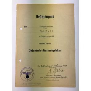 Urkunde Infanterie Sturmabzeichen