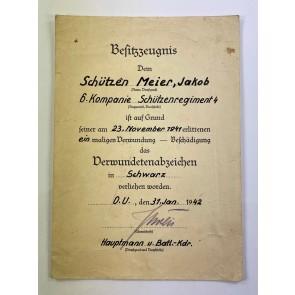 Besitzzeugnis Verwundetenabzeichen Schwarz, Schützenregiment 4
