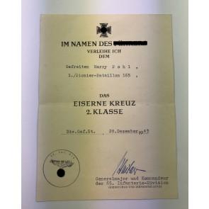 Urkunde Eisernes Kreuz 2. Klasse, Pionier