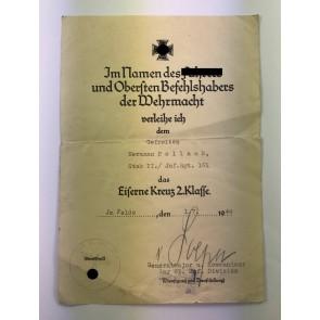 Urkunde Eisernes Kreuz 2. Klasse, Infanterist