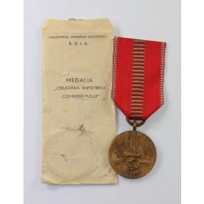 Rumänien, Medaille Kreuzzug gegen den Kommunismus, in Verleihungstüte