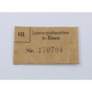 Verleihungstüte HJ Leistungsabzeichen in Eisen