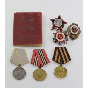 Sowjetunion, Nachlass Orden des patriotischen (Vaterländischen)Krieges 2. Kl., Roter Stern etc.