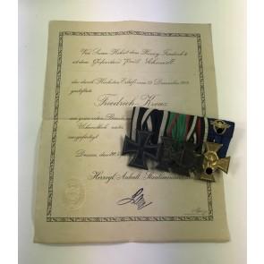 Anhalt Ordensschnalle (4X), Eisernes Kreuz 2. Klasse 1914, Anhalt Friedrich Kreuz, Ehrenkreuz für Frontkämpfer, 3. Reich Polizei Dienstauszeichnung für 25 Jahre