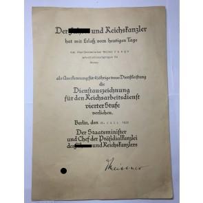 Verleihungsurkunde, RAD-Dienstauszeichnung für 4 Jahre