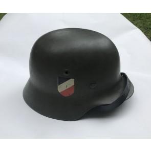 Stahlhelm M35, Hst. N.S., Apfelgrün, beide Embleme