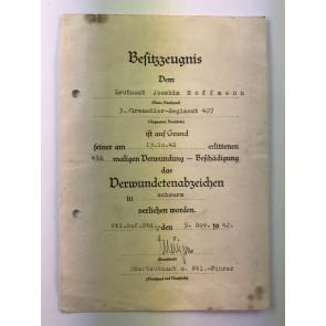 Besitzzeugnis Verwundetenabzeichen in Schwarz, Grenadier