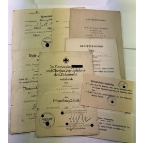 Urkunden Gruppe, mit original Unterschrift SS-Gruppenführer Teodor Eicke