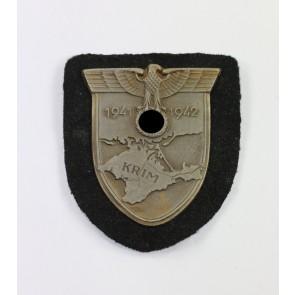 Krimschild auf schwarzen Panzer (!) Stoff, Wilhelm Deumer