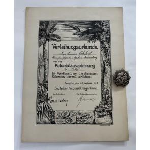 Löwenorden in Silber, mit Verleihungsurkunde, Für Verdienste um die Kolonien