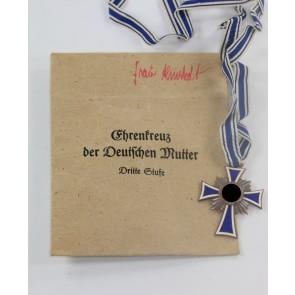 Mutterkreuz in Bronze, in Verleihungstütei, Gottl. Fr. Keck & Sohn Pforzheim