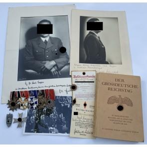 Nachlass Dr. Lapper, NSDAP Dienstauszeichnung Gold, Parteiabzeichen Gold, etc.