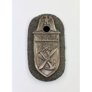 Narvikschild auf Luftwaffenstoff, Cupal (!) Typ 1