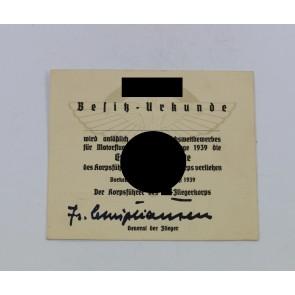 Nationalsozialistisches Fliegerkorps (NSFK), Besitz-Urkunde 11. Reichswettbewerb 1939  Erinnerungsplakette