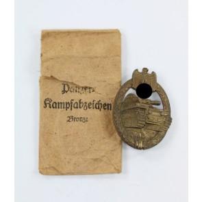 Panzerkampfabzeichen in Bronze, Steinhauer & Lück, in Verleihungstüte (!)