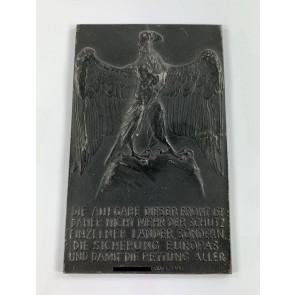Plakette, Lauchhammer Eisen, Zitat Adolf Hitlers, Adler auf Fels