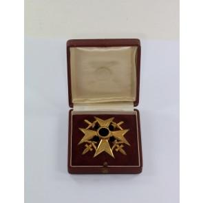 Spanienkreuz in Gold mit Schwertern, 900, im Etui, Oberleutnant Wilhelm Keidel