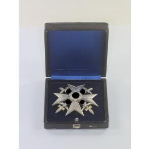 Spanienkreuz in Silber mit Schwertern, Godet 900, im Etui