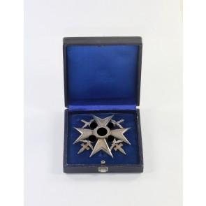 Spanienkreuz in Silber mit Schwertern, Hst. Meybauer (Wappen) 900, im Etui