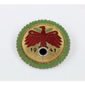"""Standschützen Tirol-Vorarlberg, Gaumeisterabzeichen 1941 in Gold mit Eichenlaubkranz """"KK-Gewehr"""""""
