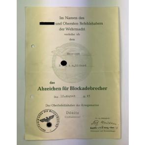 Urkunde Blockadebrecherabzeichen