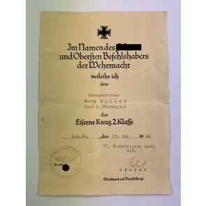 Urkunde Eisernes Kreuz 2. Klasse 1939, Flak