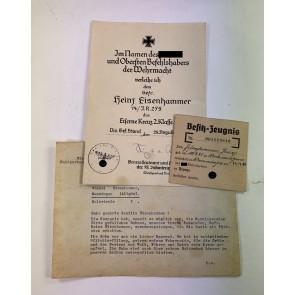 Urkunde Eisernes Kreuz 2. Klasse, Übersendungsschreiben und Besitzzeugnis SA Wehrabzeichen