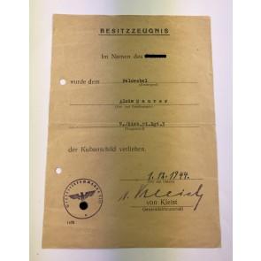 Besitzzeugnis Kubanschild, Eisenbahn Pionier